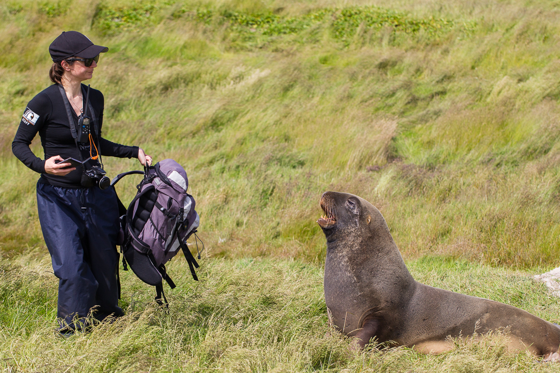 Anna, our trip coordinator, and her new best friend (Hooker's Sea Lion).