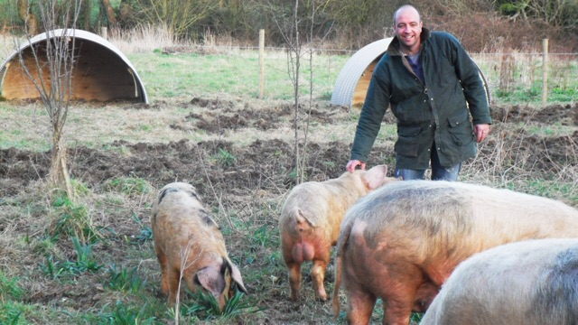 """Mike on his farm in North Wales with """"his girls"""""""