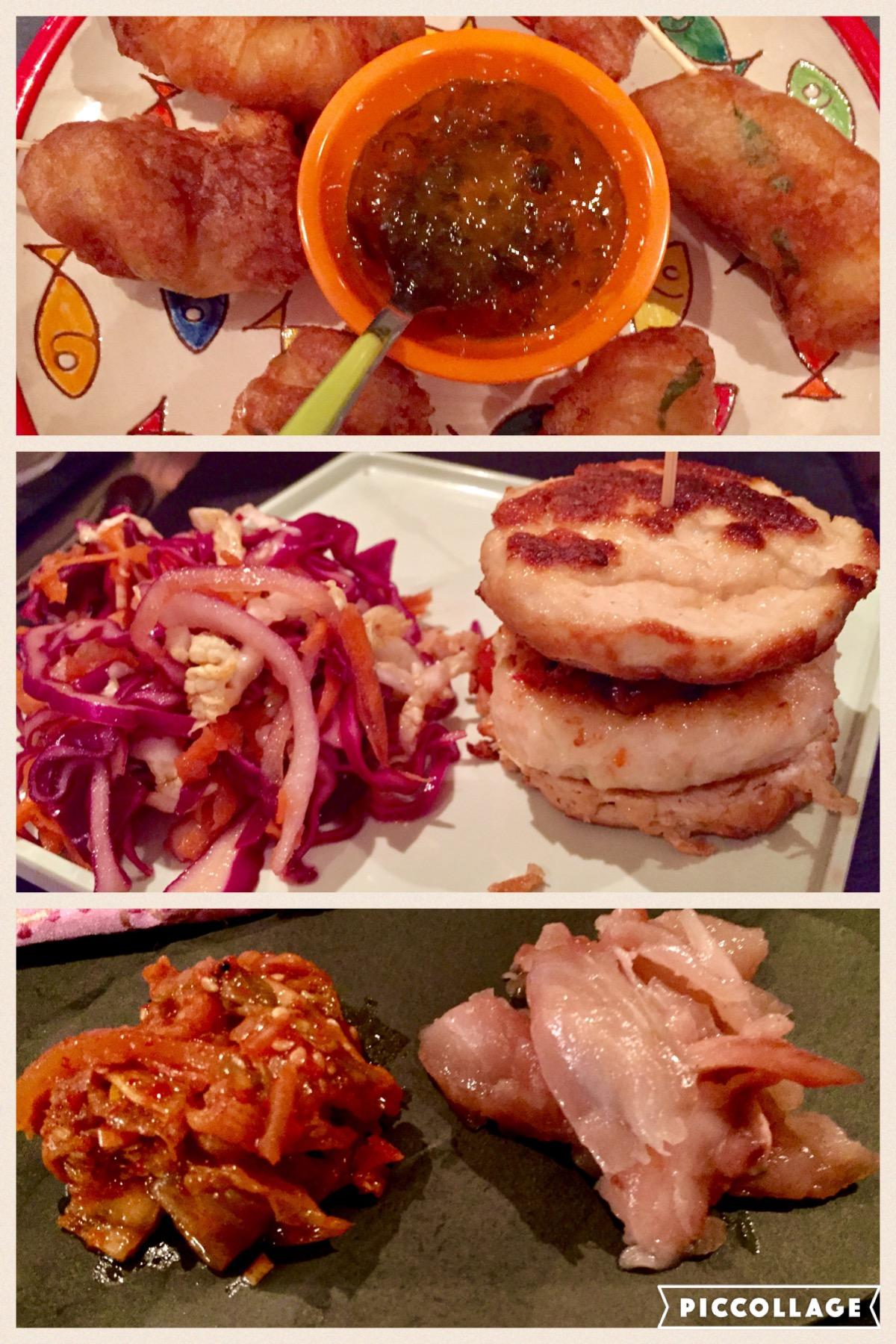Marinated monkfish goujons, tequila batter and homemade jalapeno jam (top)  Tofu Slider, Seafood lemongrass patty, pickled shiitake, unami ketchup, truffle ponzu slaw (middle)  Ginger cured mackerel, sesame kimchi (bottom)