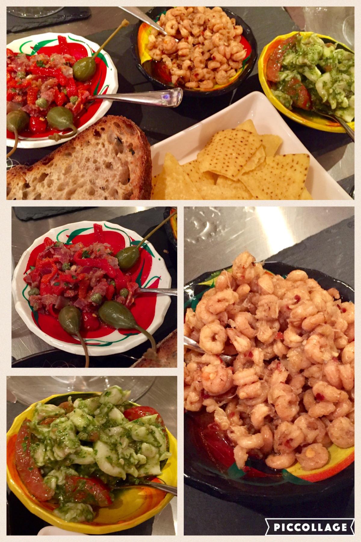 Green Ceviche, Tortilla, Morecambe Bay shrimp piri peri, Mojama, piquillo pepper, caper berries, rye sour dough toast and butter