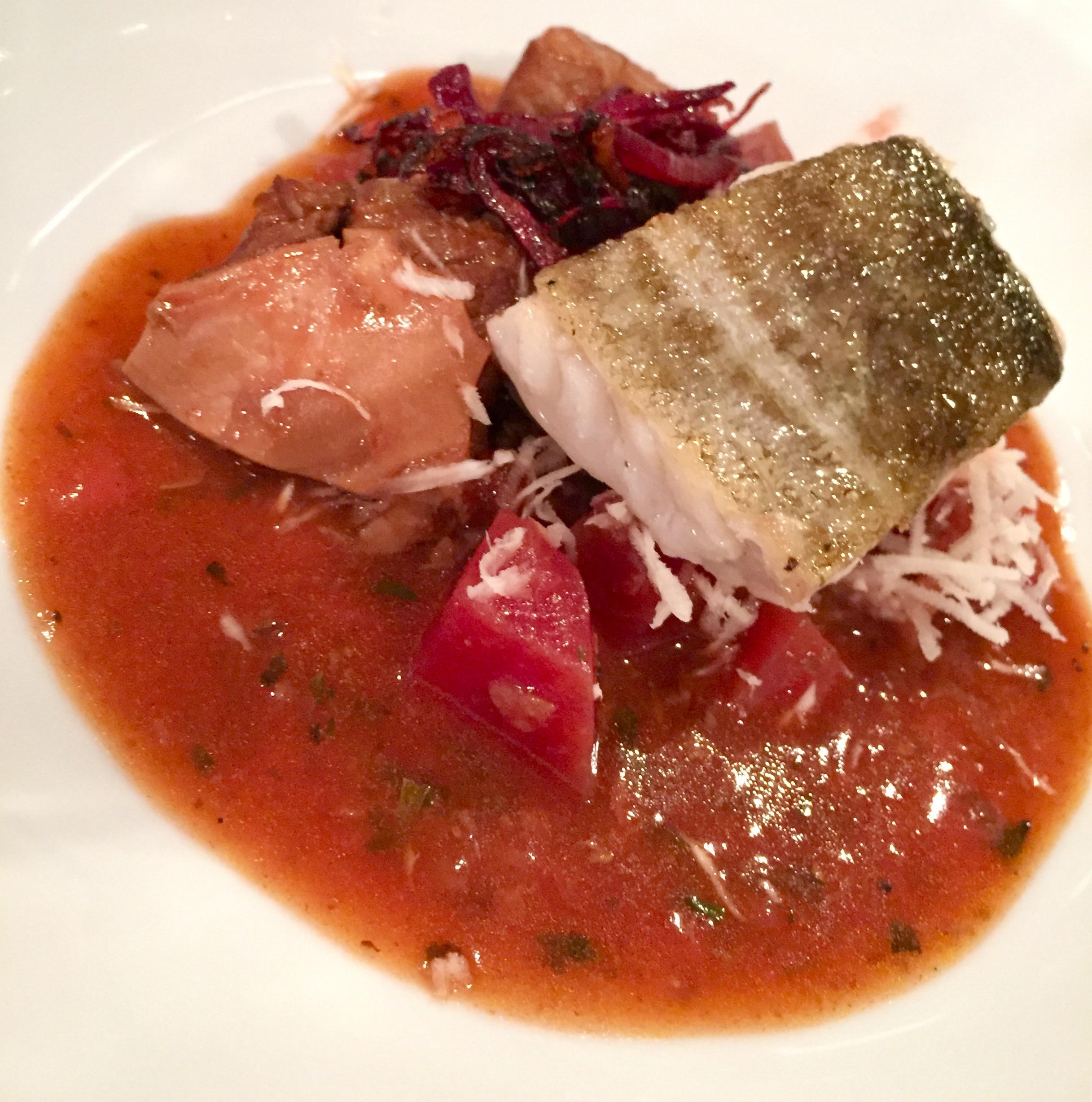 Surf n' turf - short rib, beetroot, horseradish, cod, orange and ginger