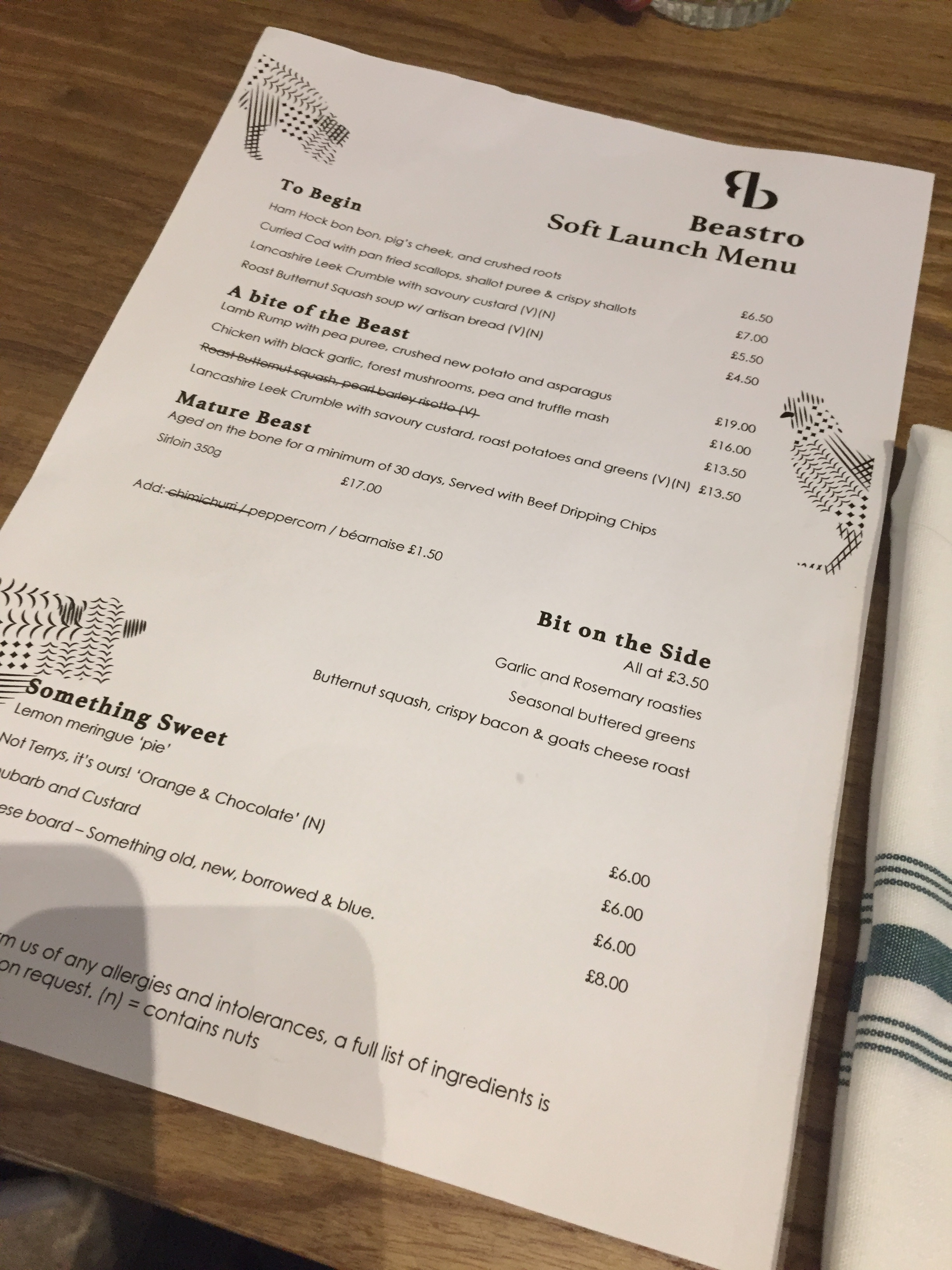 Soft Launch Menu - don't worry if you're veggie - there's still lots of options for you.