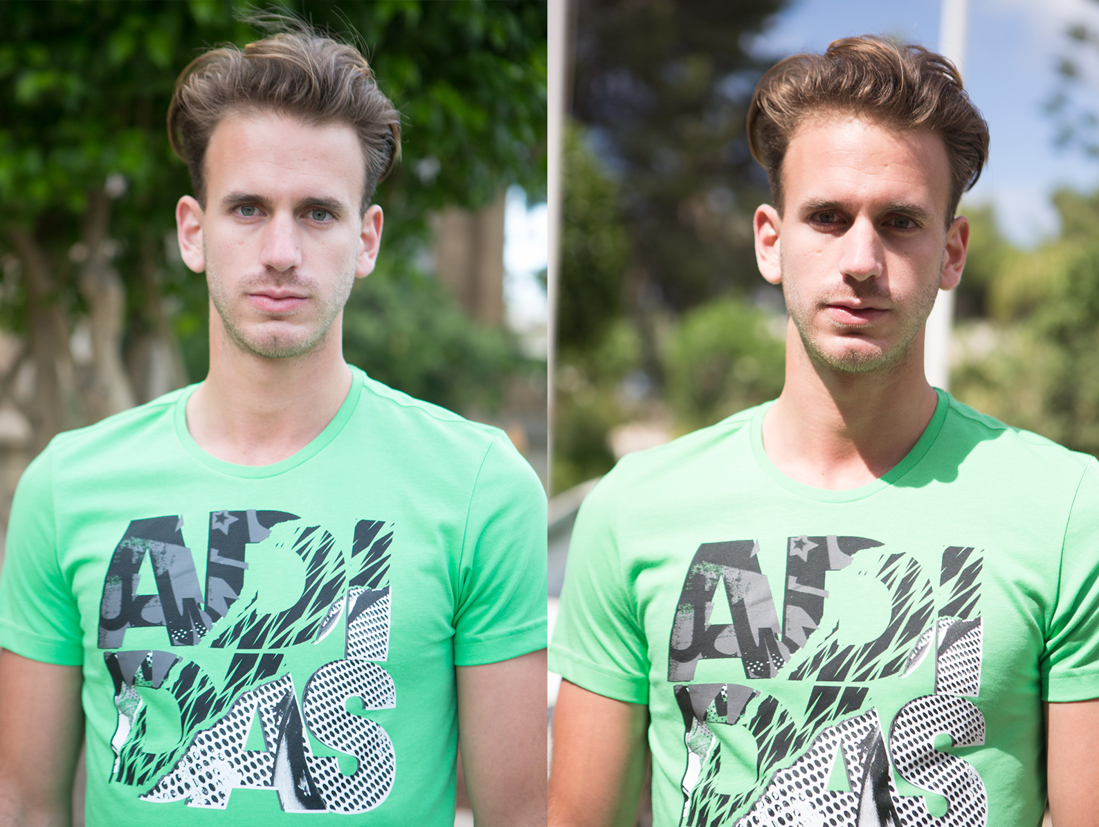 The left image is shot in the shade of a nearby building, whereas the image on the right is not in direct sunlight