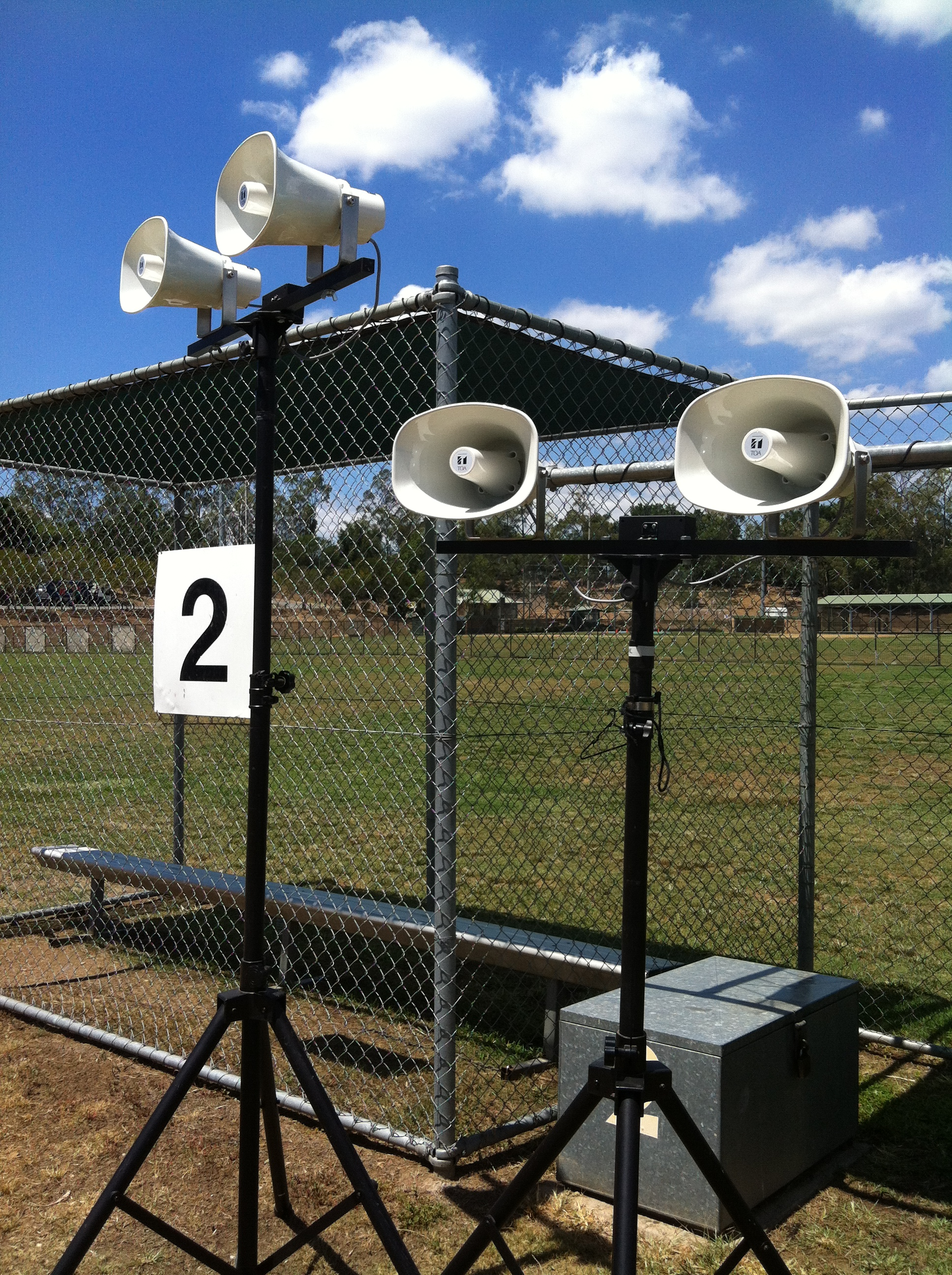 100 volt speaker system for outdoor events