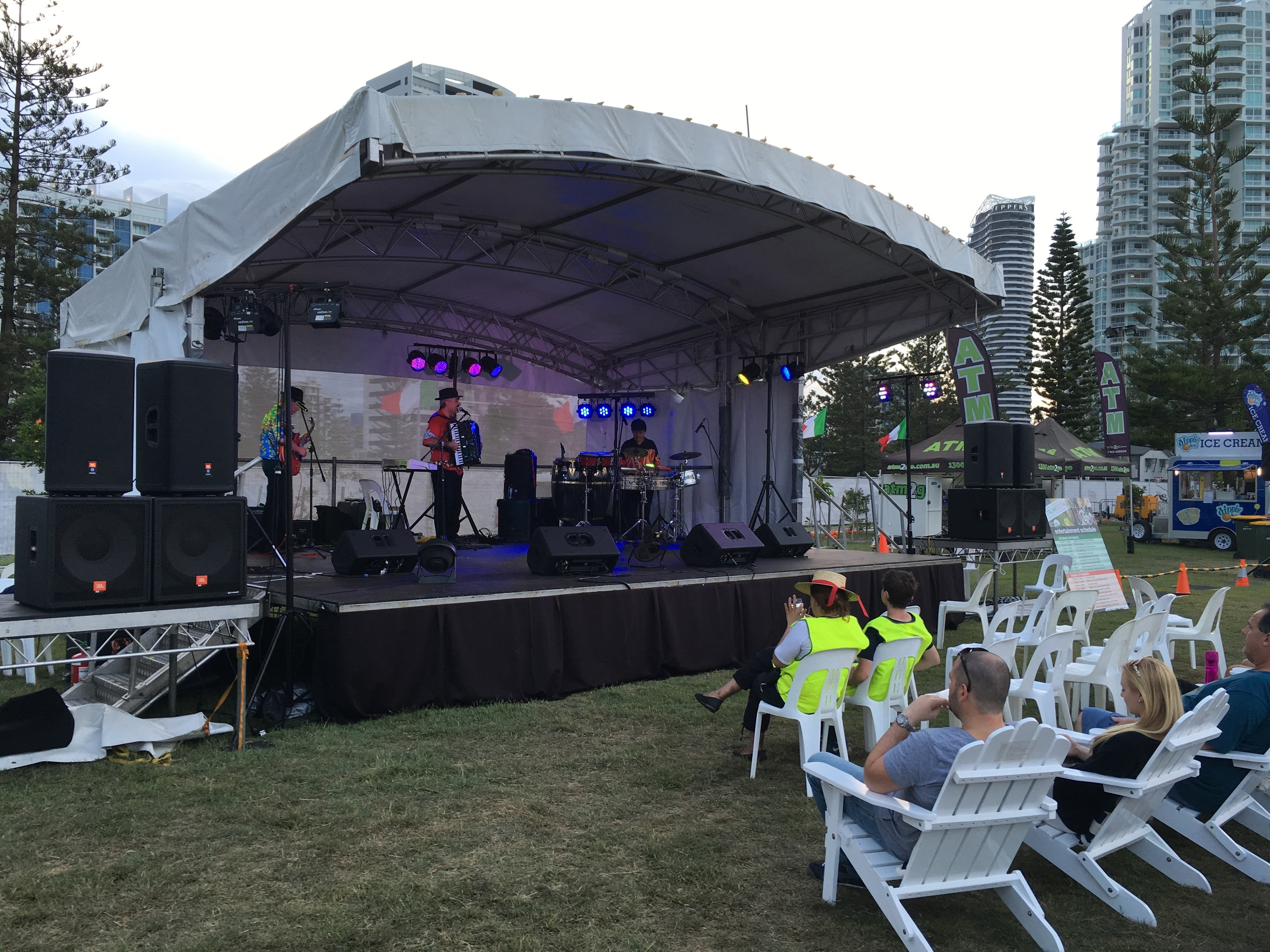 Sound check for 'Latin Mafia' at the Italian Festival, Broadbeach, Gold Coast in March 2016