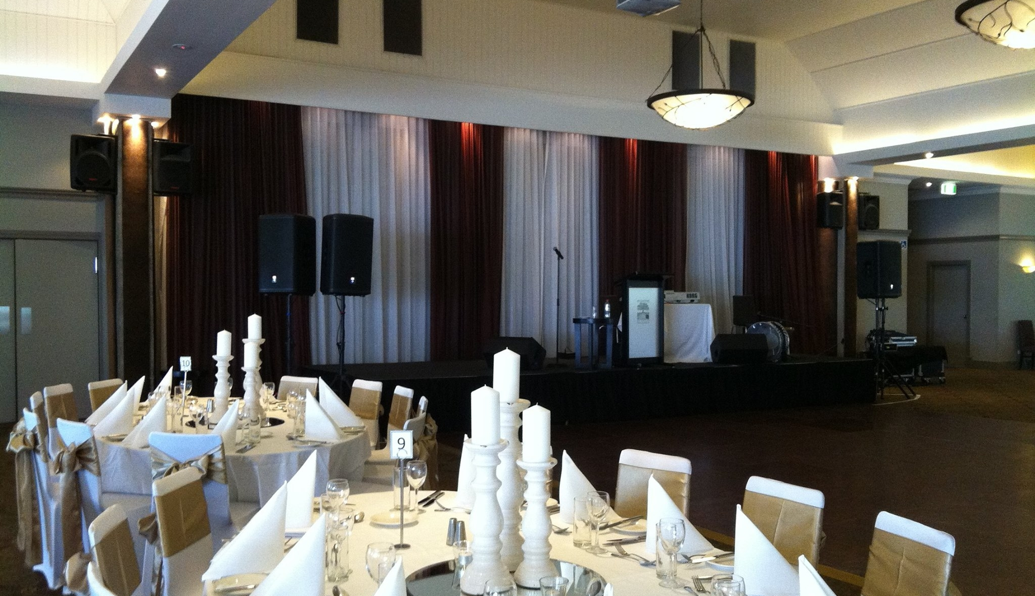 Music system set up for corporate function