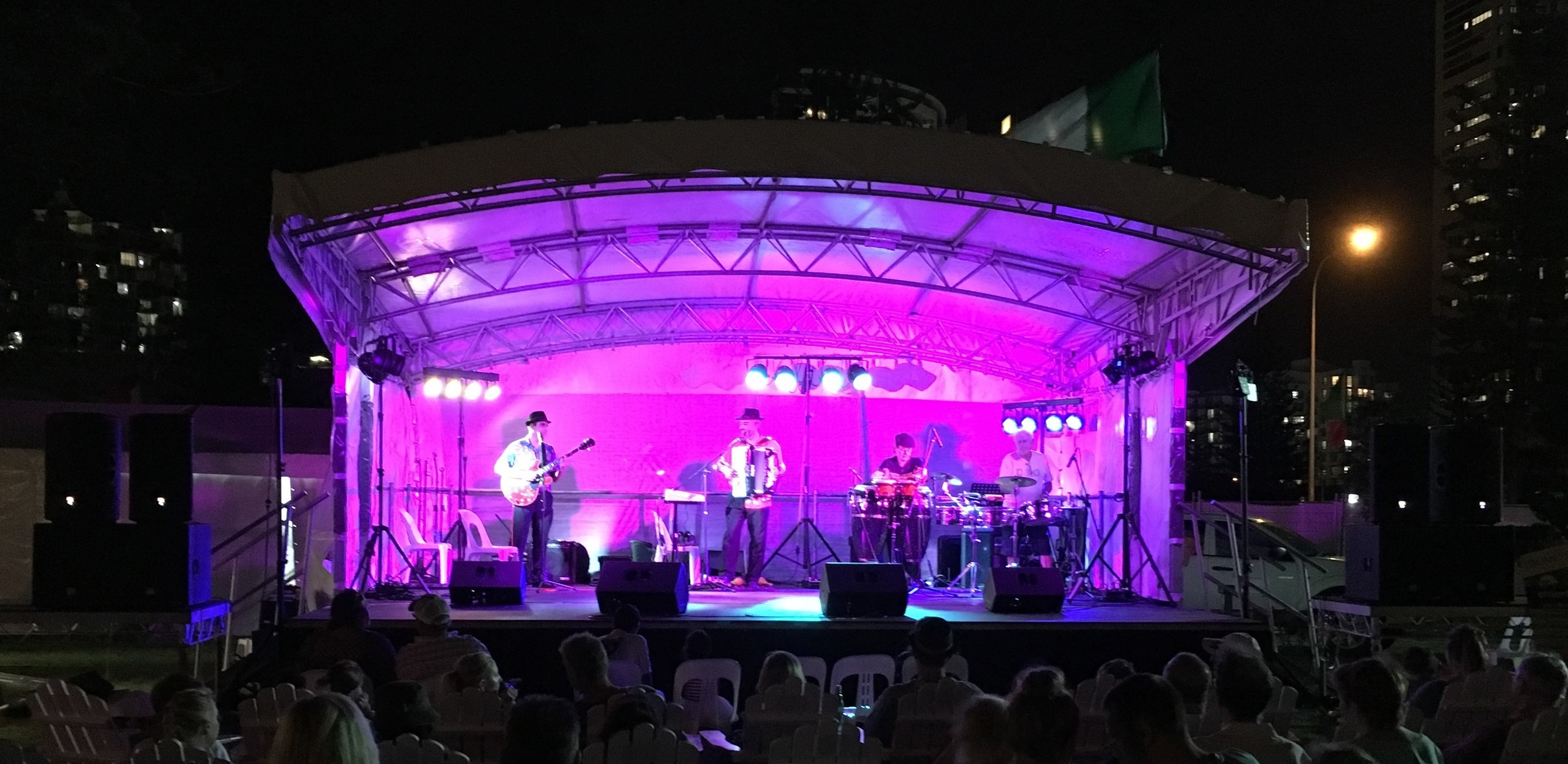 Copy of Outdoor sound system and stage lighting for Italian Festival, Broadbeach - Latin Mafia playing