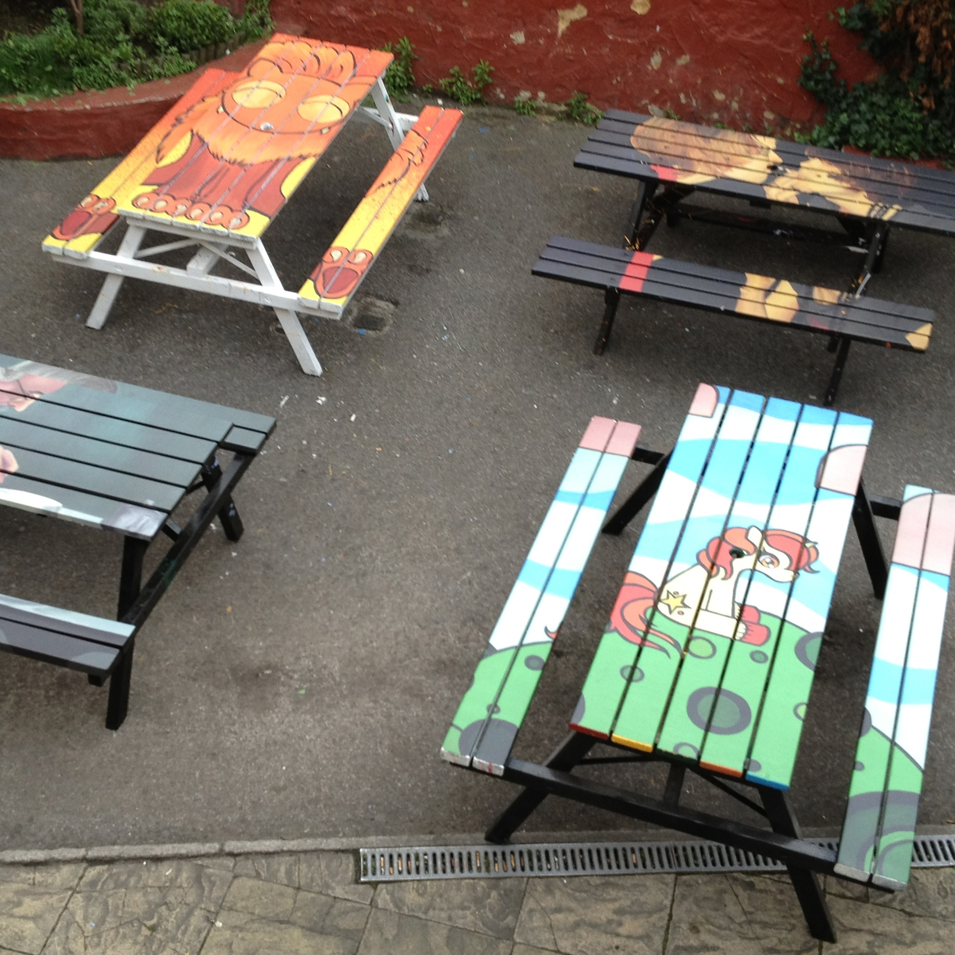 Pub garden benches - wrapped as part of and art campaign
