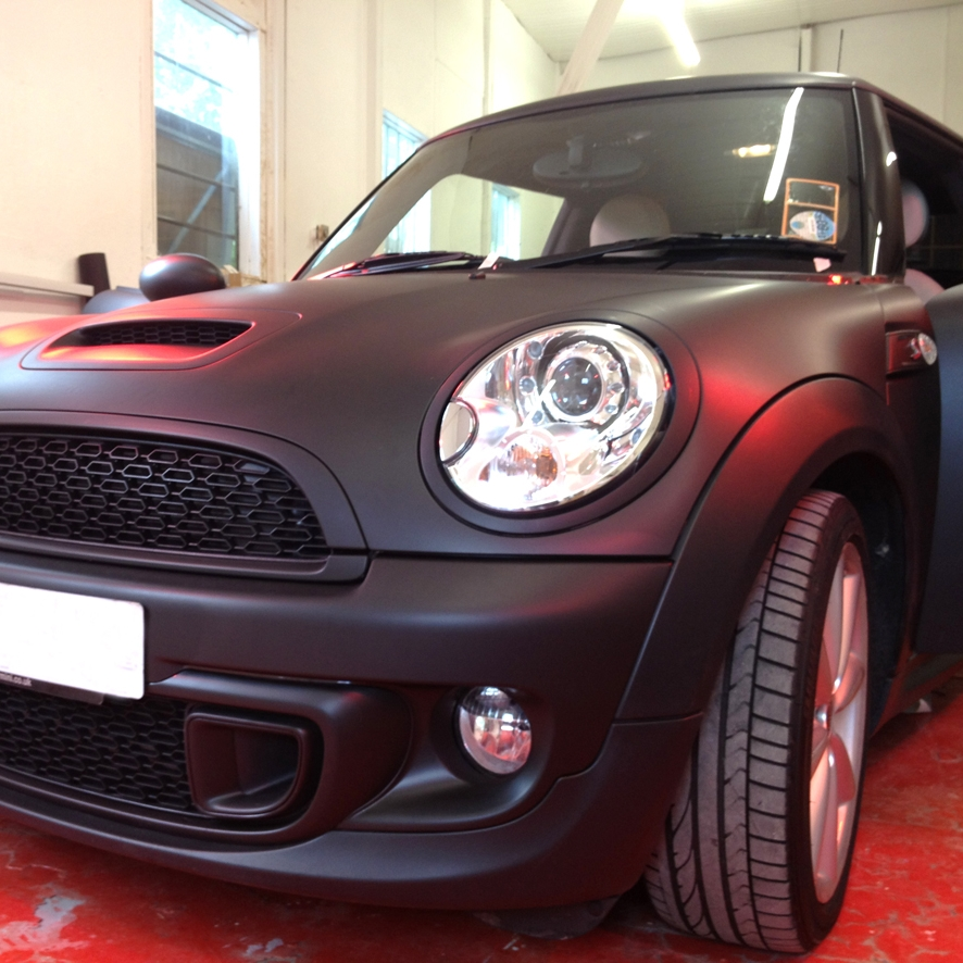 Mini Cooper S Fully wrapped including all trim to Avery Supreme matt black