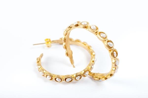 Pearl Loop Earrings in Gold  £50.00