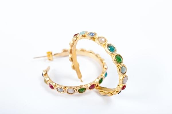 Multi stone Loop Earrings in Gold  £50.00