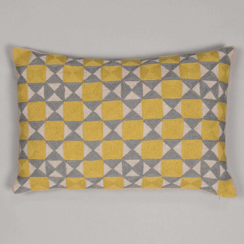 Chartreuse & Grey Zellji cushion  £95.00