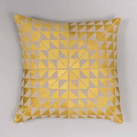 Yellow & Grey Triangles Cushion  £96