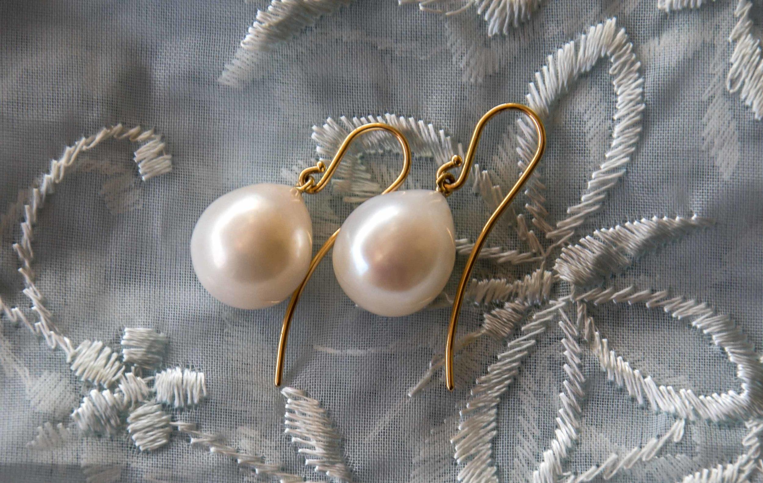 Stunning teardrop pearl earrings