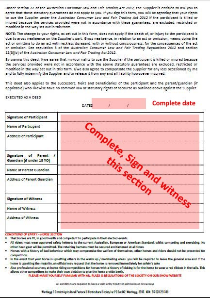 Entry form page 2 Waiver