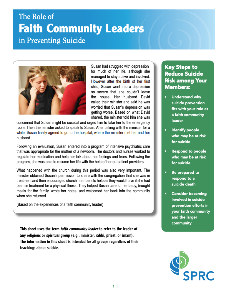 Download:  The Role of Faith Community Leaders in Preventing Suicide - 2012