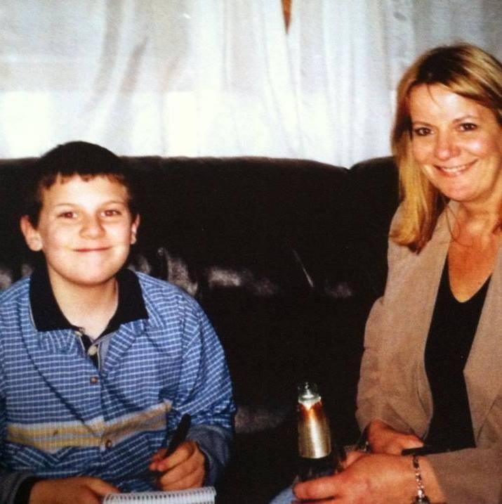 My mom and I circa 2002 at a holiday party.