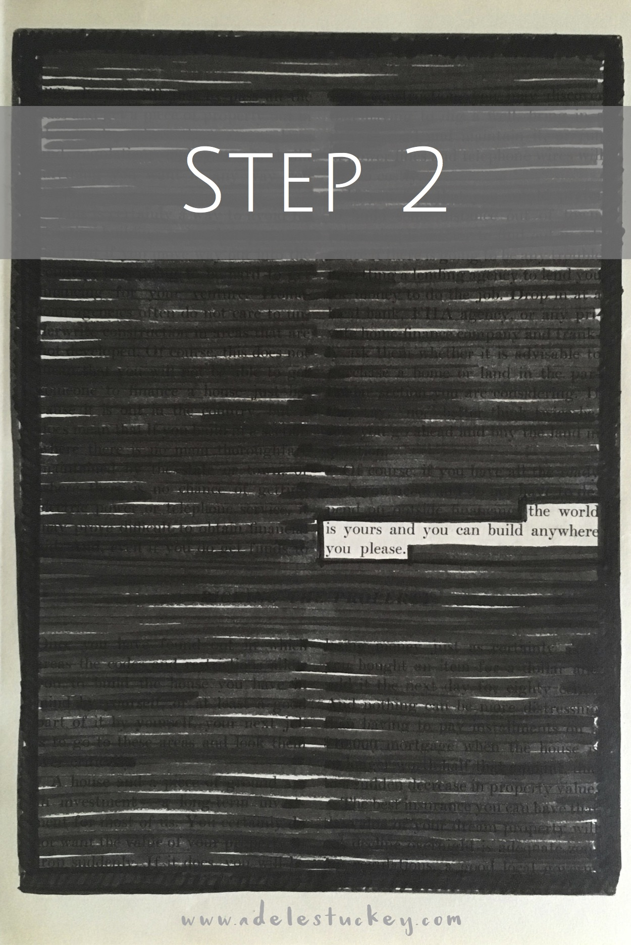 altered book blackout poetry step 2