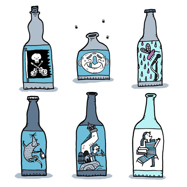 "Cottage Life,  Winter 2015  Suggestions for home brew labels: ""Jolly Guitar,"" ""Dirty Grandpa,"" ""Purple Mosquito,"" ""Smiling Shrew,"" ""Ugly Lighthouse,"" ""Jumbled Lawnchair"""