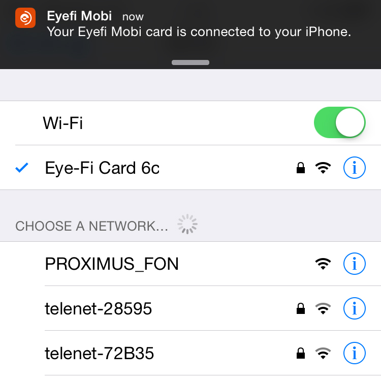 On your mobile device, select the Eyefi Mobi Card's network and you're good to go!