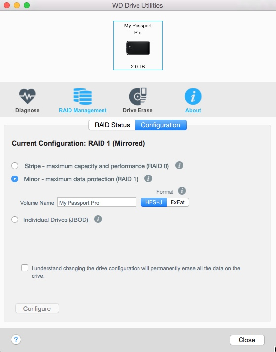 The WD Utilities software lets you set up the drive in three different ways. 'Mirror' is the one that I use and that offers the protection your images deserve.