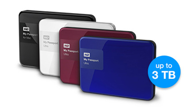 The My Passport Pro is available in four colours. If you use more than one (e.g. one for data and one for backup), choosing different colours can help you tell the drives apart.
