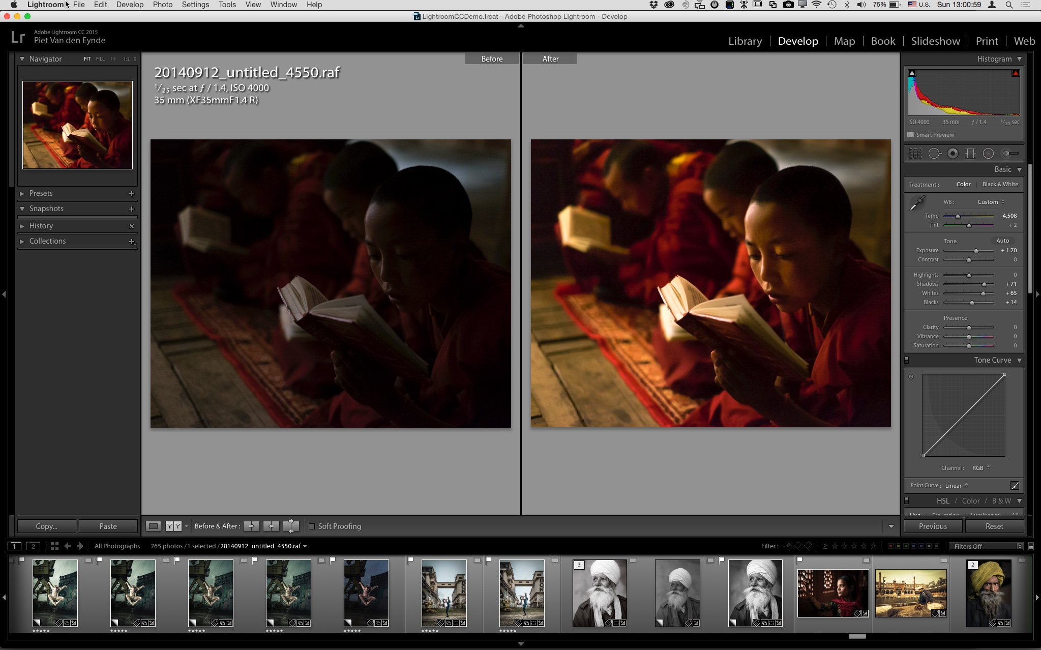 Don't you just love Fujifilm's fast prime lenses?Even at ISO 4000, an aperture of 1.4 and a shutter speed of 1/25th, this image shot inside a Buddhist monastery was still incredibly dark. After adding an extra stop and a half of Exposure in Lightroom and tweaking the Detail panel sliders a little, I got this perfectly printable image.