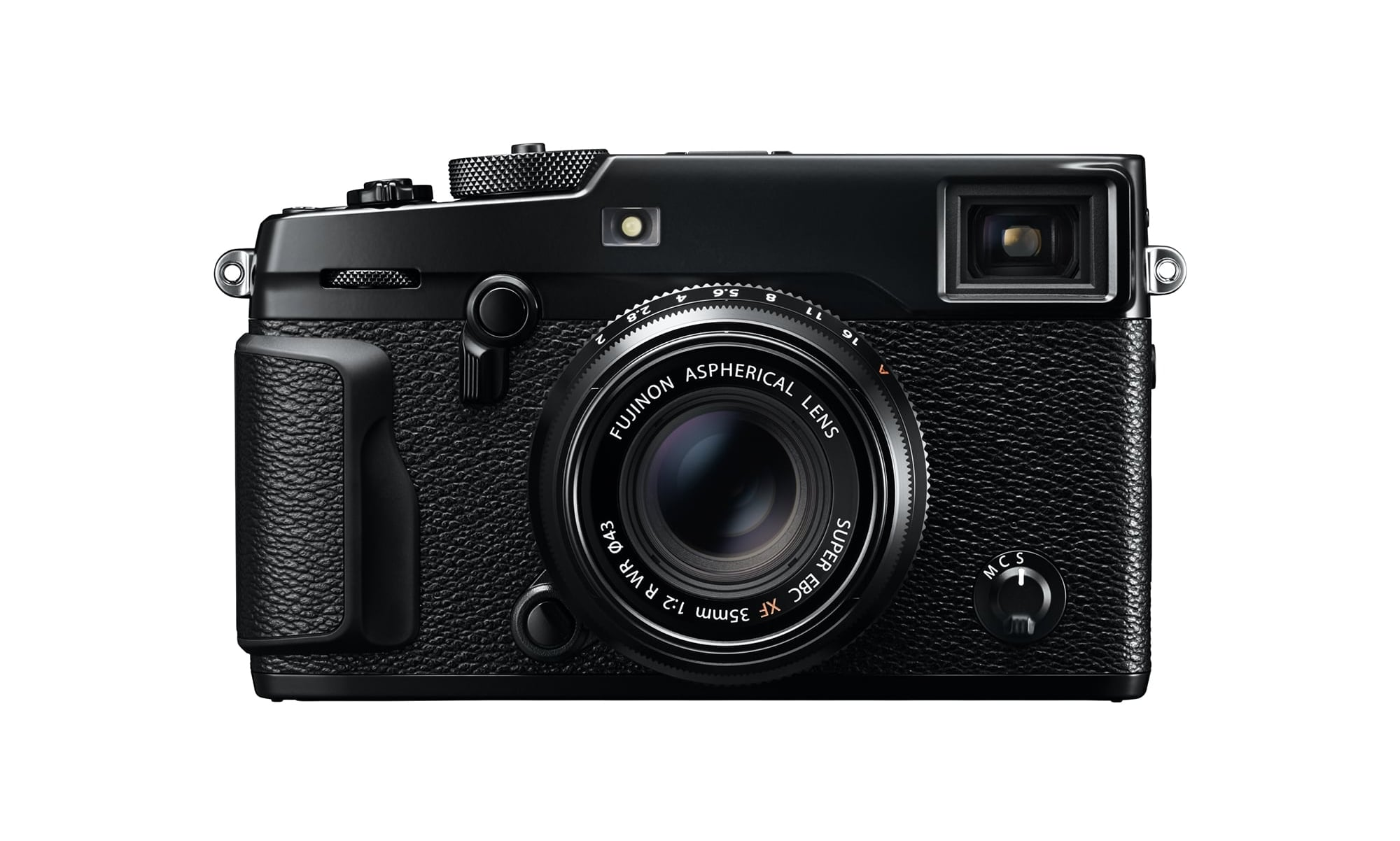 Seen from the front, not a lot has changed: the EVF/OVF lever now not only lets you switch from OVF to EVF, but also between the two OVF modes that we now know from the X100T. Another barely visible - but interesting - new feature is the addition of a front command dial. Image © Fujifilm Corporation.