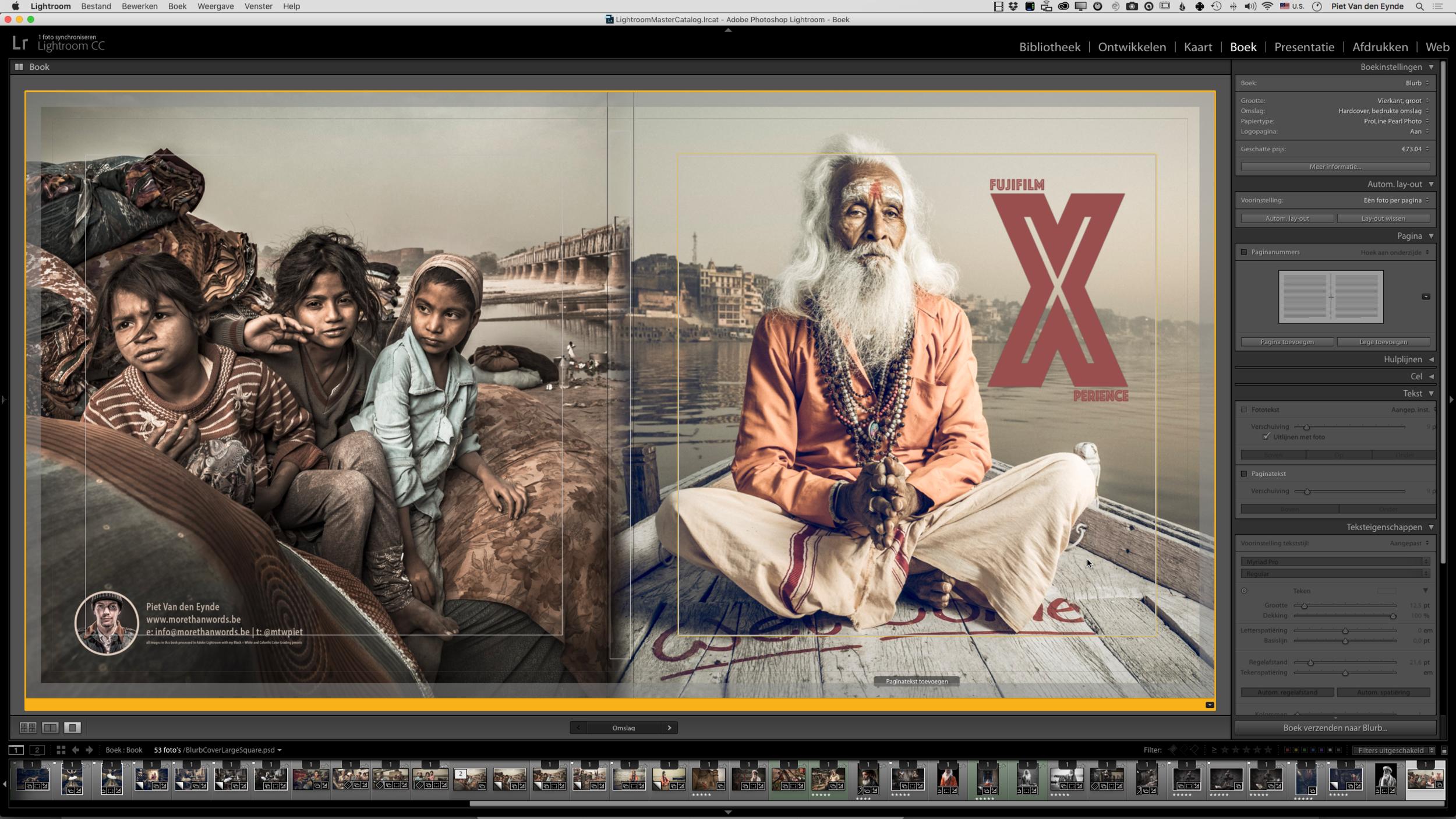 De 16 megapixels van de X-T1 zijn groot genoeg om een dubbele pagina te vullen in een 30 x 30 fotoboek. Zelf maak ik die met Lightroom (natuurlijk!) en Blurb. Enkel de voor- en achtercover, die je hier ziet,maak ik op in Photoshop