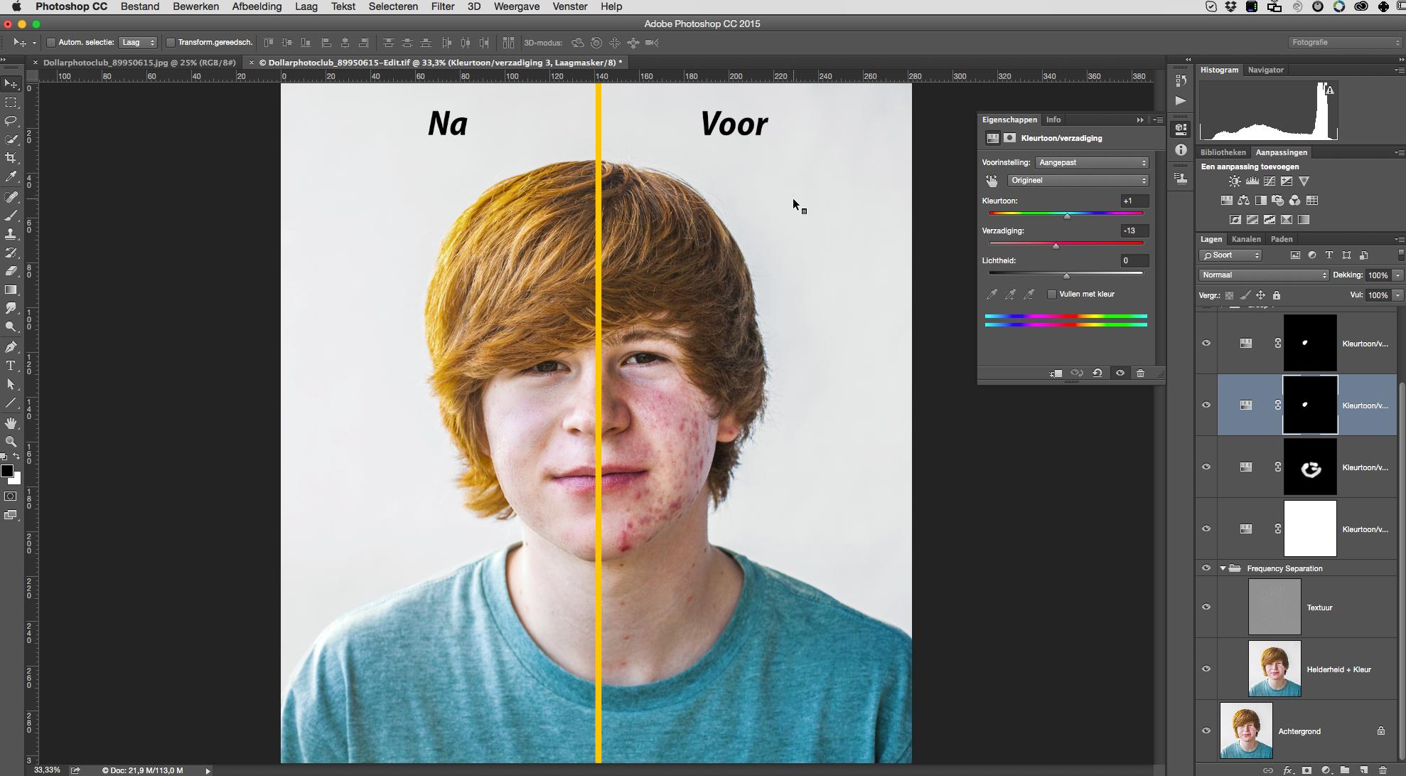 Een ander typisch Photoshop-klusje is huid-retouche. In deze cursus maak je kennis met Frequency separation, de meest professionele manier van huid-retouche.