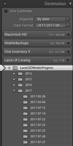 TIP: Importeer je recente shoots (op locatie of op reis) in een Work-In-Progress map op je Externe Catalogus Schijf. Zo heb je je meest recente originelen altijd bij je!