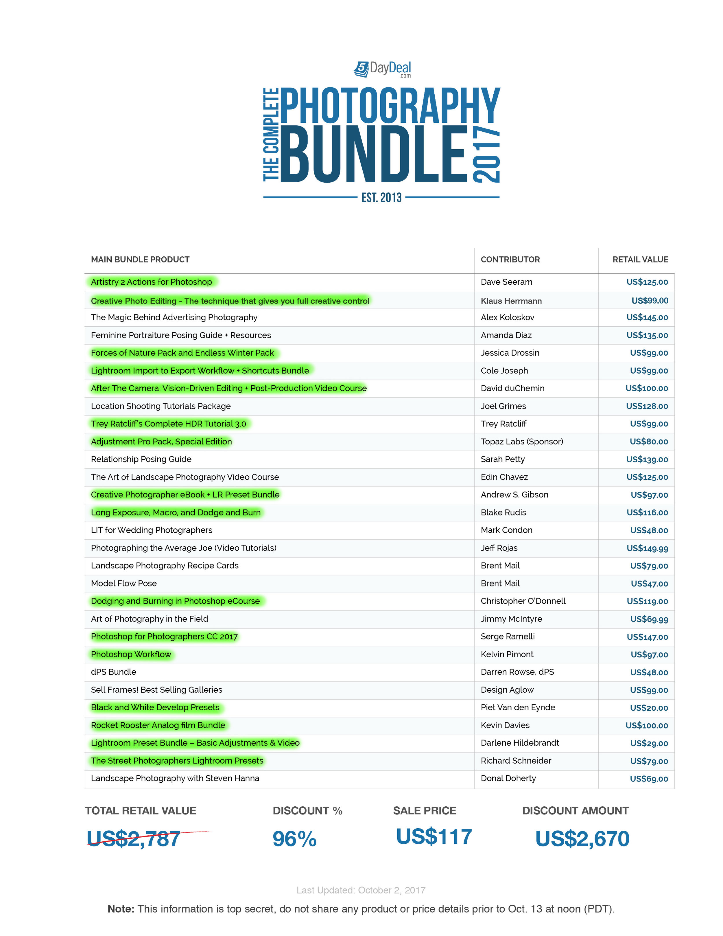 Copy of 5DayDeal -  Complete Photography Bundle 2017 - Full Product List