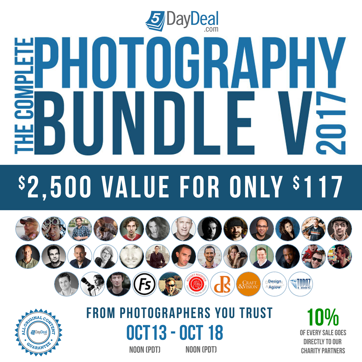 Hey, who's that guy at the top right of the contributor list? Yes, yours truly is also included in the  5DayDeal  with my Black & White preset pack! Along with $2,767 worth of other photography resources, until October 18th offered for only $117.