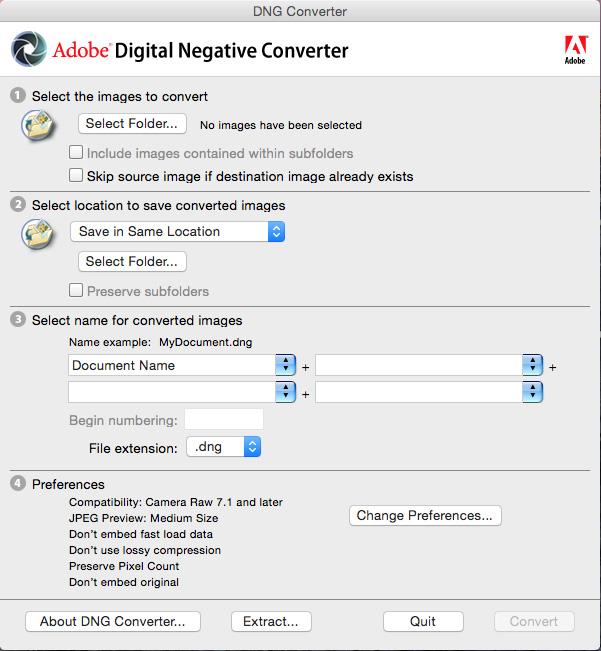 De Adobe DNG converter laat je toe in batch je cameraspecifieke raw foto's om te zetten naar het door Adobe ontwikkelde 'universele' DNG formaat. Screenshot © Adobe.