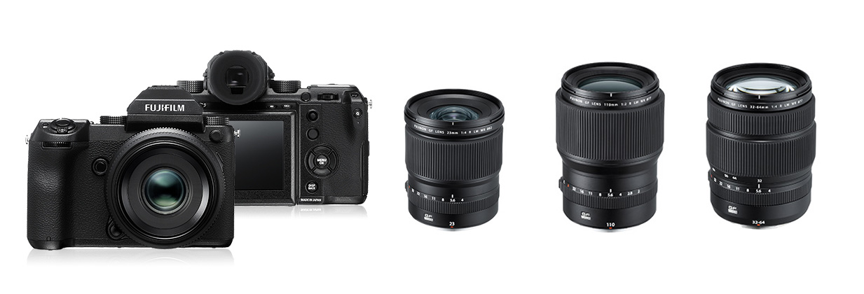 Het cameramateriaal gebruikt op deze trip: een Fujifilm GFX met drie lenzen (niet op schaal): de GF23mmF4 R LM WR, GF110mmF2 R LM WR en de GF32-64mmF4 R LM WR.