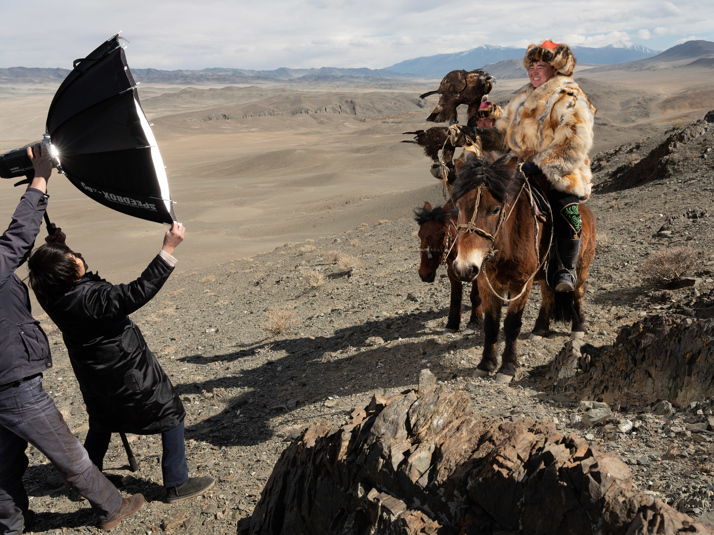 This is Matt Brandon's SMDV Alpha 90 being used to make a portrait of these Mongolian Eagle Hunters... It took two people just to hold the 90 so the 180 would not have been an option here...