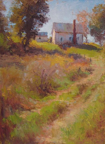 """Rural Ohio Landscape  Oil on panel  Framed, 22"""" x 18"""""""