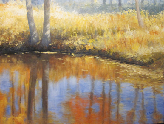 """Autumn River Reflections  Oil on canvas  Framed,32"""" x 42"""""""