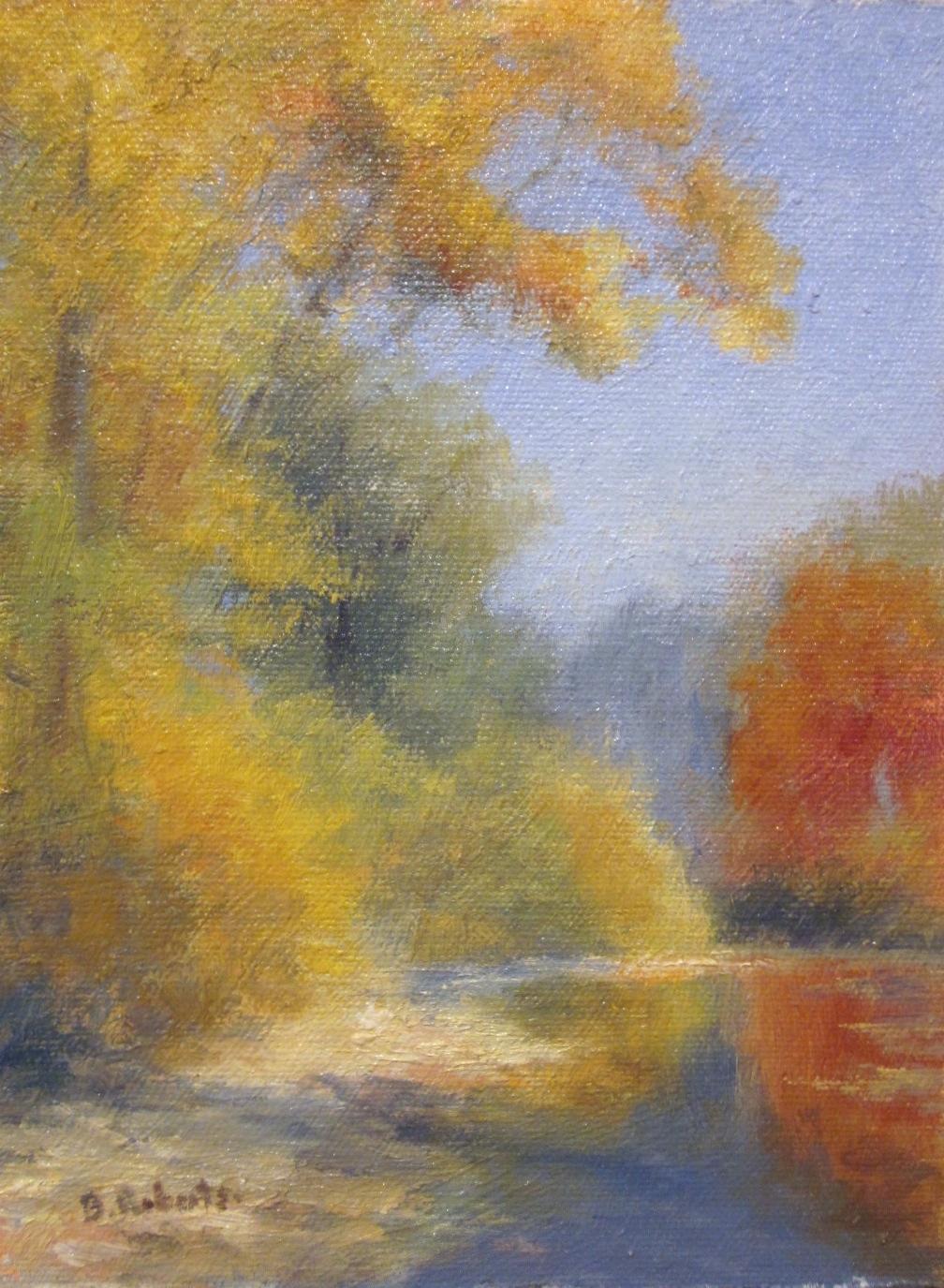 "Autumn Color Near Granville  Oil on panel  8"" x 6"""