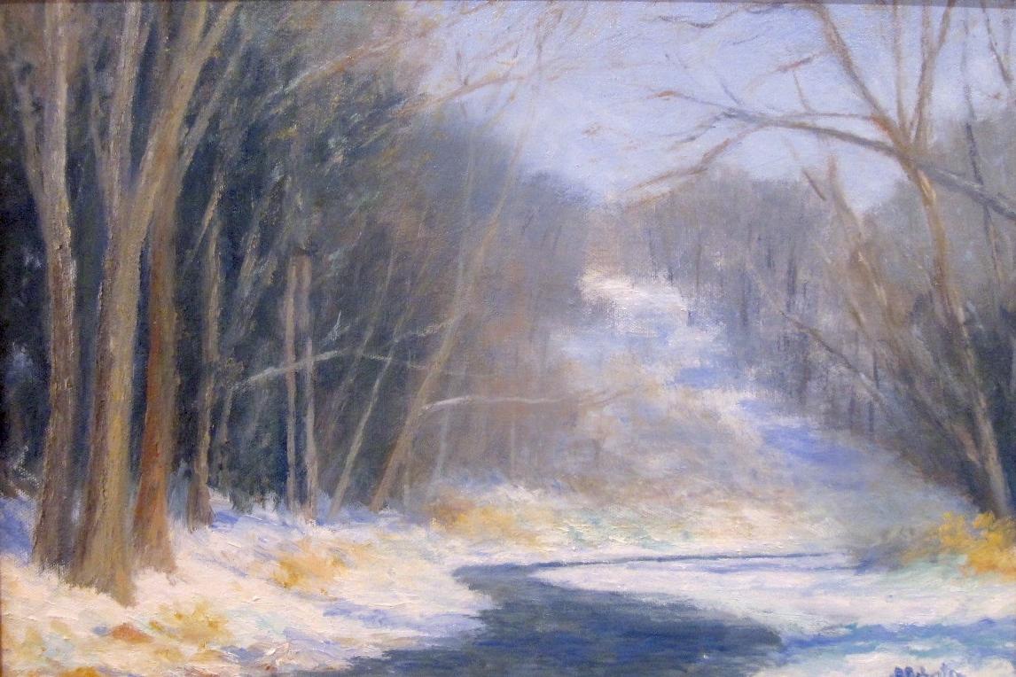 "Winter Scene on the Licking River  Oil on board  Framed, 18"" x 24"""