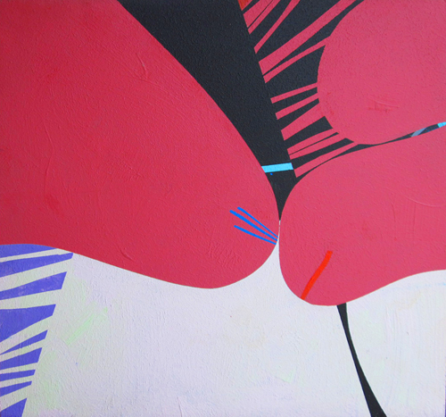 "Black Stripe  Acrylic on board  16"" x 16"""