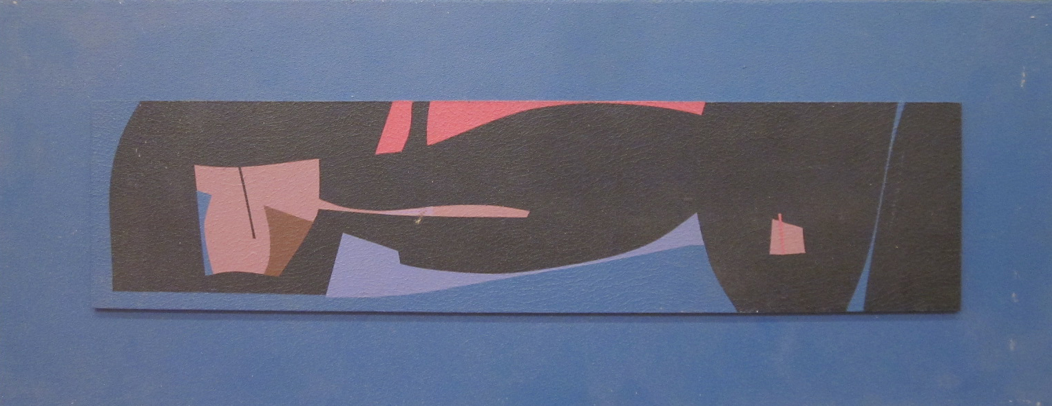 """Composition 4  Acrylic on board  Framed, 21"""" x 11"""""""