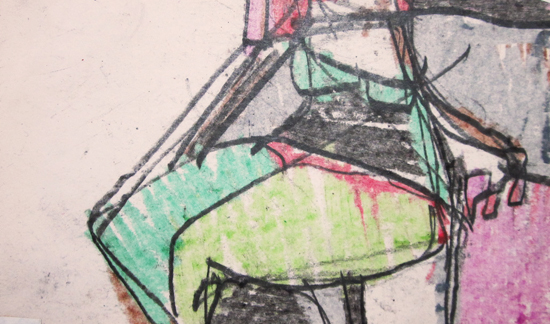 """Seated woman  Mixed media on paper  Framed, 8"""" x 10"""""""