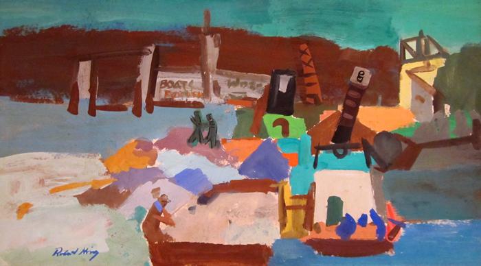"""Boatyard  Gouache on paper  Framed, 25"""" x 35"""""""