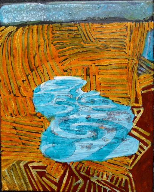 """Motif Pool and Field 1  Acrylic on canvas  10"""" x 8"""""""