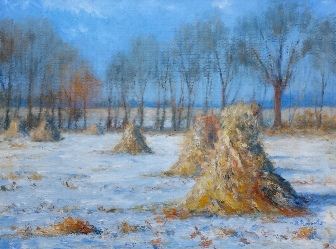 "Haystacks in Snow  Oil on canvas  Framed, 17"" x 21"""