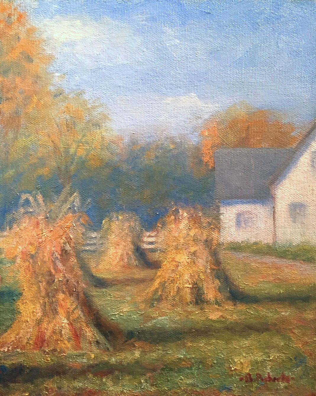 "Harvest Scene  Oil on panel  10"" x 8"""