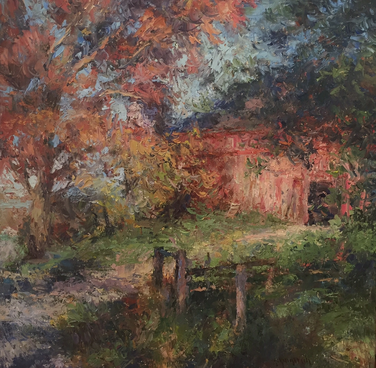 "Barnyard II  Oil on canvas  Framed, 36"" x 36"""