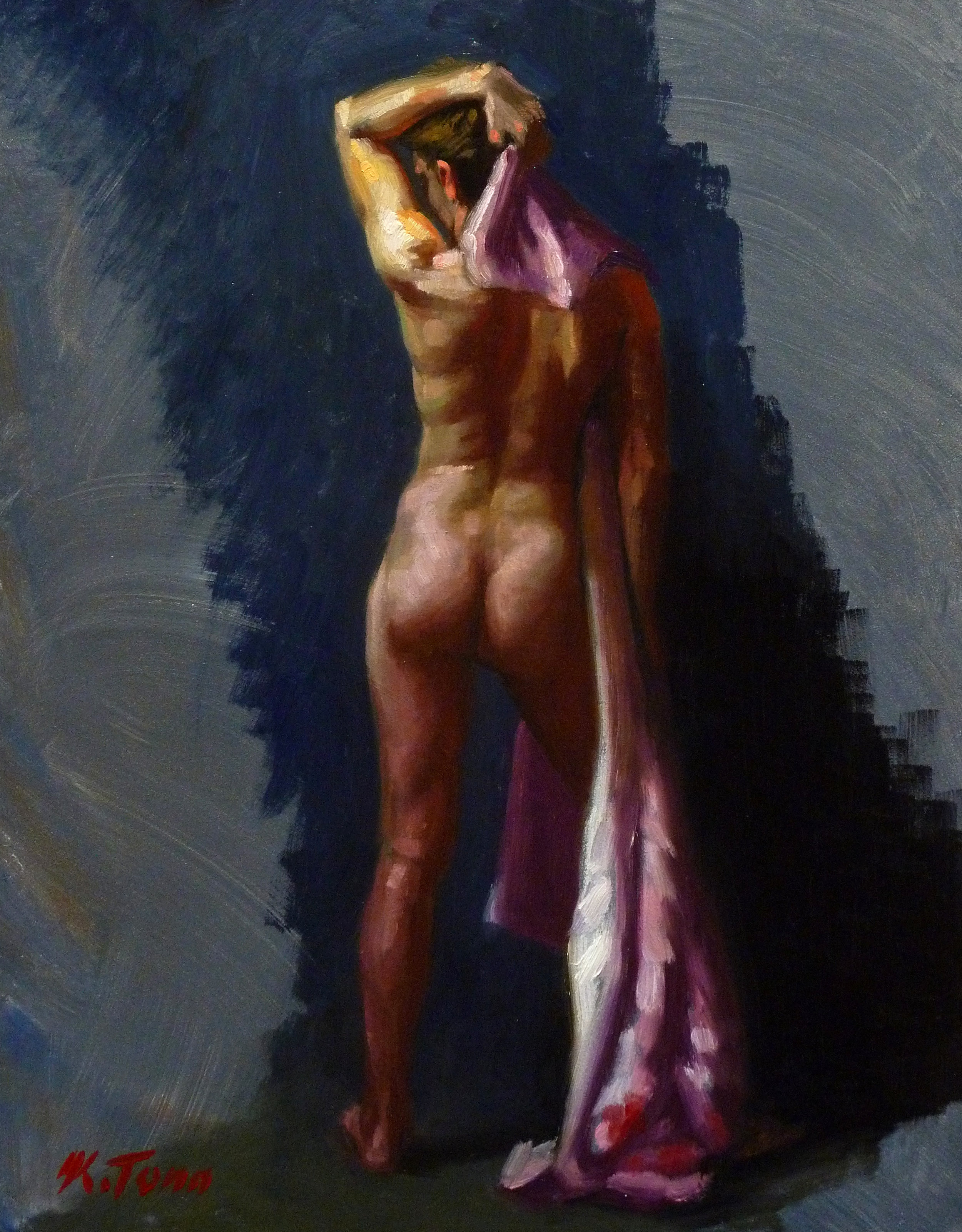 "Nude with Pink Kimono  Oil on panel  Framed, 14"" x 11"""