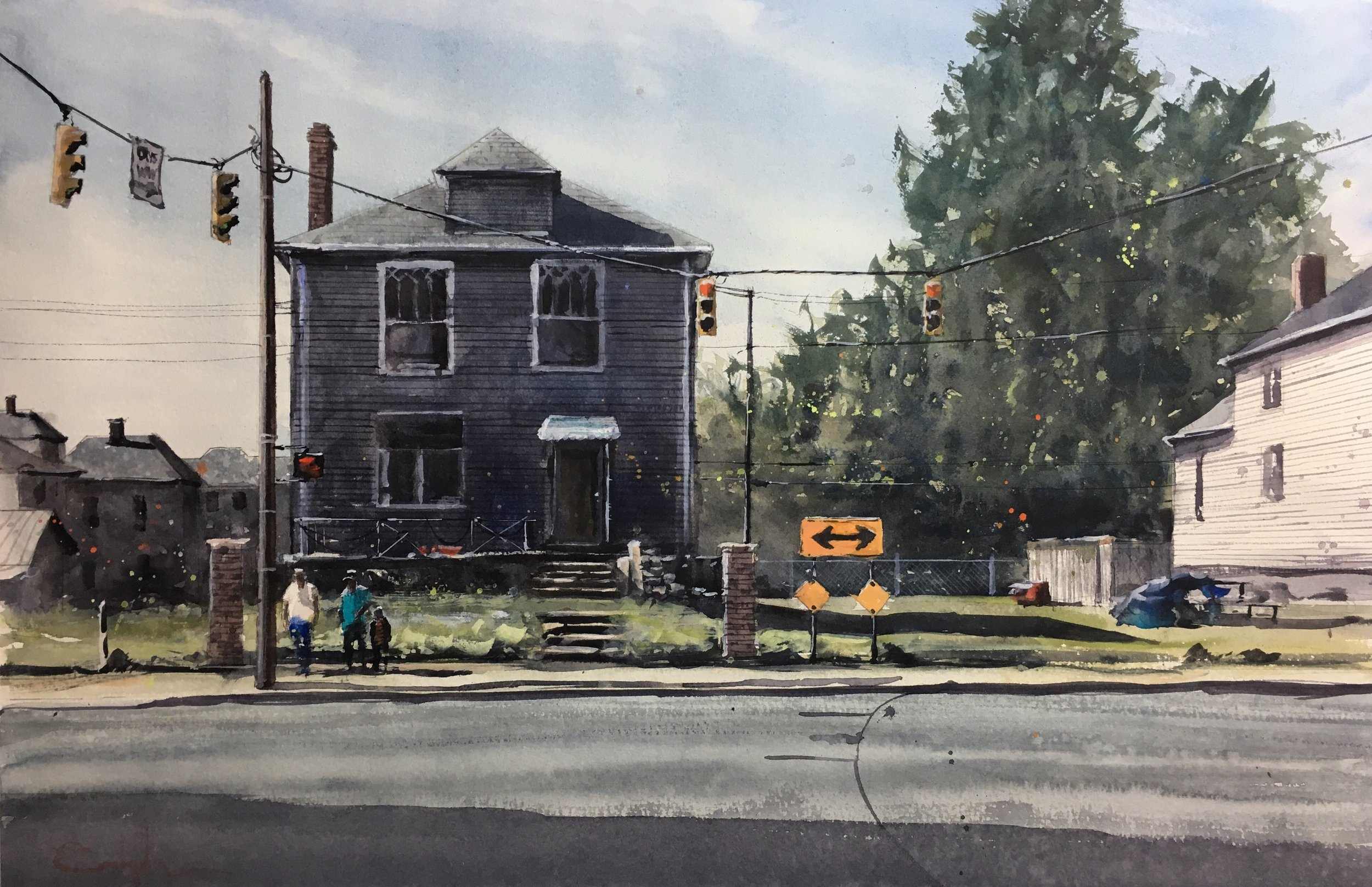 """East Livingston and Miller  Watercolor on paper  Framed, 23"""" x 29"""""""
